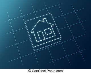 House icon - Sketch 3d house icon from white lines over blue