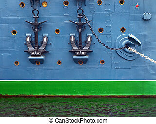 anchors - side of a ship with two anchors