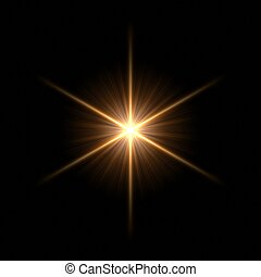Beautiful star - Abstract lens flare light over dark...