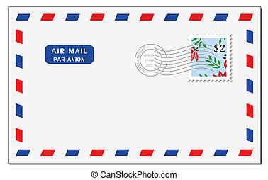 Air mail envelope - A shady air mail envelope on a white...