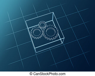 schematic gears - Sketch 3d gears icon from white lines over...