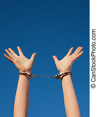 Handcuffed, woman's, hands