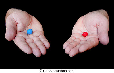 Red Bill Blue Pill concept from blockbuster movie