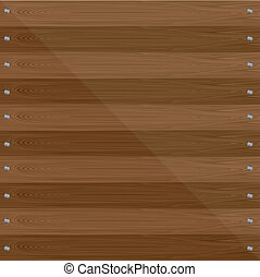 wooden background with screws. vector illustration