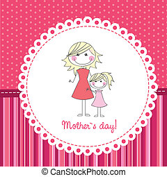 mother day - mother and daughter over cute background, hand...