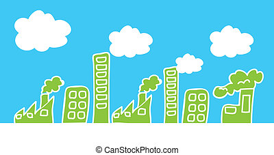 cute industries over sky, hand drawing vector illustration