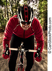 Cyclist on road bike through a forest.