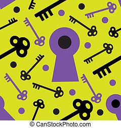 Keyhole Seamless - A seamless pattern comprised of keys and...