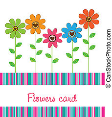 cute flowers with stripes background vector illustration