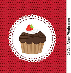 cup cake over red background vector illustration