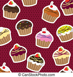cup cakes over violet background with dots. vector...