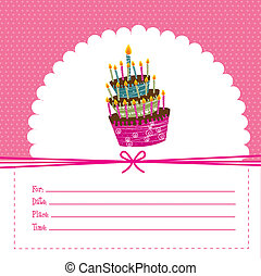 birthday card - pink birthday card, background. vector...