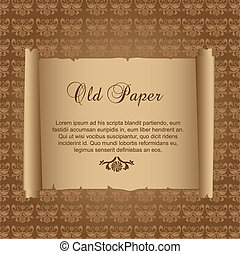 old paper over ornament background. vector illustration