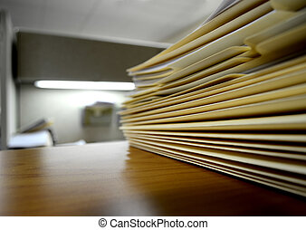 File Folders on Shelf or Desk - Desk or shelf full of...