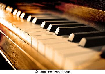 antik, zongora, kulcsok