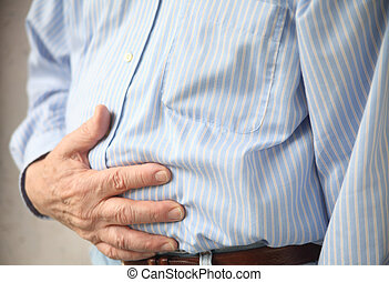 man with indigestion - businessman with stomach pain, hand...