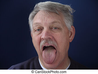 man showing his tongue