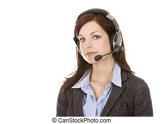 telemarketing person - beautiful brunette wearing business...
