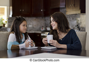 Mom and daughter having coffee