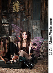 Sad Fairy In Suitcase - Sad Faery sitting in suitcase...