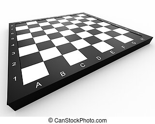Empty chess board - Empty colorless chess board over white...