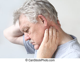 senior man with sore neck