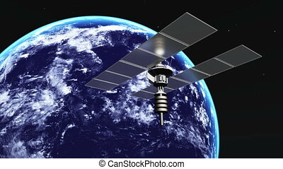 man-made satellite and earth