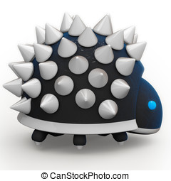 Mine robot with spikes 3d render. - A spikey robot with lots...