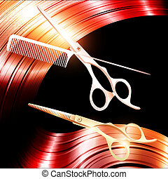 Hair and cutting scissors with metal pin tail comb