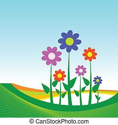 flower illustration on blue background
