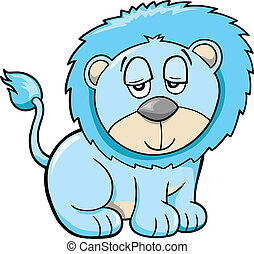 Cute Sleepy Safari Lion Vector