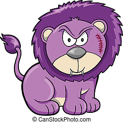 Cute Angry Safari Lion Vector