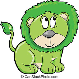 Cute Shy Safari Lion Vector