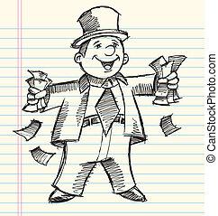 Doodle Sketch Rich Business Man