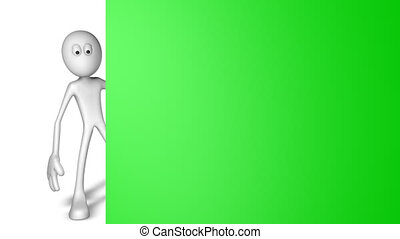 presentation - white guy and blank board - 3d illustration