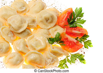 Pelmeni food - Pelmeni - traditional russian dish. Close up...