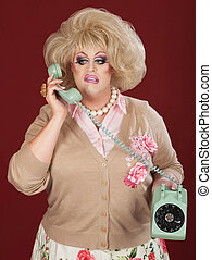 Frustrated Drag Queen - Sneering retro style drag queen on...