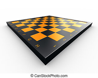 Empty chess board - Empty colorful chess board over white...