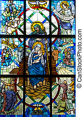 Blessed Mother Child Jesus and Joseph Stained Glass window