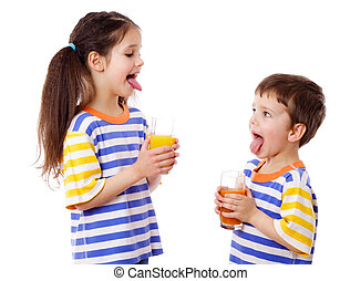 Two funny kids with juice - Two funny kids with fruit juice...
