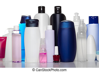 bottles of health and beauty products