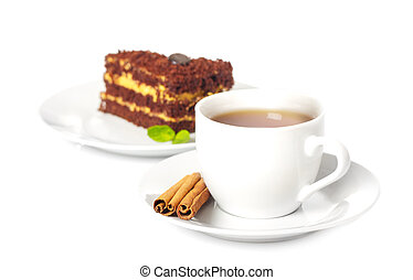 cup of tea with chocolate cake
