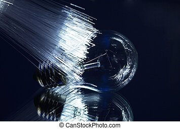 light bulb with optic fiber with reflection