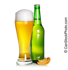 beer glass and bottle with chips
