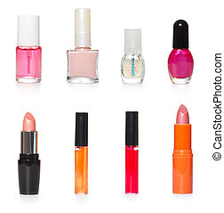 bottles of cosmetics and make-up products