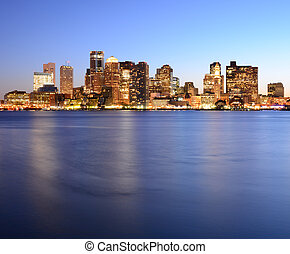 Boston Harbor - Financial District of Boston, Massachusetts.