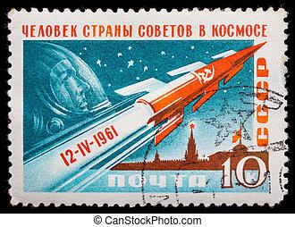 1961:, cohete, espacio, estampilla, moscú, -, 1961,...
