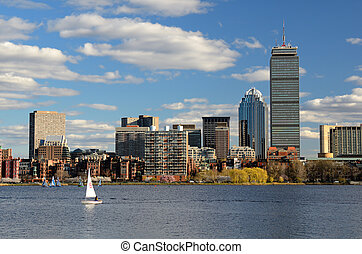 Boston Buildings - The cityscape of Back Bay Boston,...