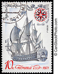"""USSR- CIRCA 1971: A stamp printed in the USSR, shows old russian ship """"Poltava"""", circa 1971"""