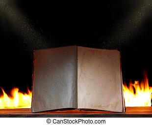 eld, lätt, bok, bakgrund, omgivande, öppna